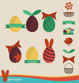 Happy easter cards with easter eggs, ribbon. Vector illustration — Wektor stockowy