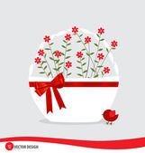 Basket with flowers. Vector illustration. — Vector de stock