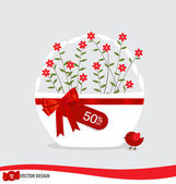 Basket with flowers and sale tags. Vector illustration. — Stock Vector