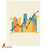 Abstract building with graph. Vector illustration. — Stock Vector