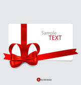 Cards with red gift bows and red ribbons. Vector illustration. — Wektor stockowy