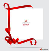 Cards with red gift bows and red ribbons. Vector illustration. — Stock Vector