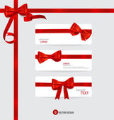 Cards with red gift bows and red ribbons. Vector illustration. — Stok Vektör