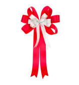 Shiny red ribbon on white background with copy space — Stock Photo