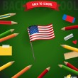 Welcome back to school with American Flag, vector illustration. — Stock Vector #46034577