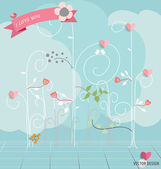 Abstract tree with hearts and flowers. Vector Illustration. — 图库矢量图片