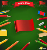 Welcome back to school with Red Flag, vector illustration. — Stock Vector