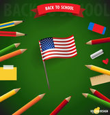 Welcome back to school with American Flag, vector illustration. — Stock Vector