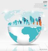 City with modern design globe. Vector illustration. — Stock Vector