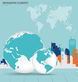 Modern globe with building background. Vector illustration. — 图库矢量图片