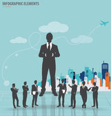 Business people silhouettes with building background. Vector ill — Stock Vector