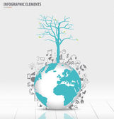 Tree on modern world globe with application icon, modern templat — Vecteur