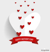 Happy Mothers's Day, paper hearts. Vector illustration. — Stockvektor