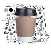 Paper cup of coffee with drawing graph Isolated white background — Stock Photo