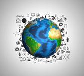 Aarde en tekening grafiek (elementen van dit beeld ingericht door nas — Stockfoto