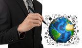 Mano de hombre de negocios dibujo gráfico de éxito con la tierra (elementos de — Foto de Stock