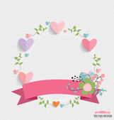 Floral bouquets with ribbon and heart, vector illustration. — Stok Vektör