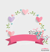 Floral bouquets with ribbon and hearts, vector illustration. — Stock Vector