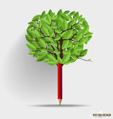 Pencil with leaf. Vector illustration. — Stockvektor