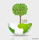 Abstract tree on green globe. Vector illustration. — Stock Vector