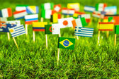 Paper cut of flags on grass for Soccer championship 2014 — Stock Photo
