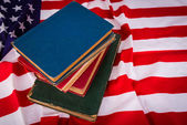 Vintage book on American flag — Stock Photo