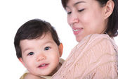 Closeup portrait of cute mother with child isolated on white bac — Stock Photo