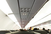 No Smoking and Fasten Seat belt Sign on Airplane — Stock Photo