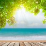 Wood terrace on the beach sea and sun light — Stock Photo #48706997