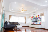 Modern room with TV and Flags for soccer championship 2014 — Stok fotoğraf
