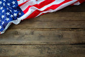 American flag on wood background — Stock Photo