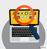 Laptop and magnifying glass with application icon. Vector illust — Stock Vector