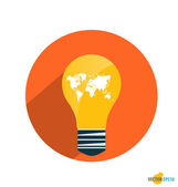 Light bulb with world map. Vector illustration. — Stock Vector