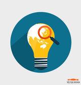 世界地図、ビジネス作業要素と電球 fo — ストックベクタ
