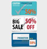 Sale Coupon, voucher, tag. Vector Template Design. — Stock Vector