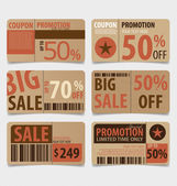 Sale Coupon, voucher, tag. Vintage Style template Design vector  — Stock Vector