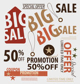 Word for Price tag, sale coupon, voucher. Vector illustration. — Stock Vector