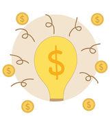 žárovka s peníze mince. moderní plochý design vektor illustrati — Stock vektor