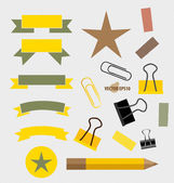 Ribbons Set, pencil, paperclip and sticker. Vector illustration. — Stock Vector