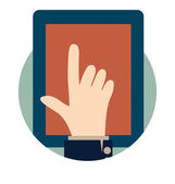 Modern tablet with hand. Vector illustration. — Stock Vector