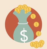 Ukládání váček s penězi s peníze mince. moderní plochý design vektor illu — Stock vektor