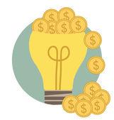 žárovka s peníze mince. moderní plochý design vektor — Stock vektor