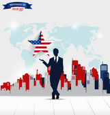 Happy independence day, 4th of July. Businessman showing star. V — Stock Vector