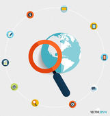 Magnifying glass and globe with application icons, Business work — Vecteur