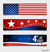 American Flag and note papers, ready for your message. Vector il — Stock Vector