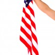 Hand holding American flag isolated on white background — Stock Photo #49815487