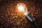 Light bulb on coffee beans — Stock Photo