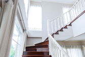 Interior wood stairs and handrail — Stockfoto