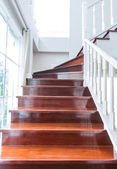Interior wood stairs and handrail — Stock Photo