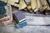 Vintage old books on wooden table — Stock Photo